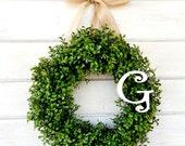 Monogram Wreath-Initial Boxwood Wreath-Summer Wreath-MONOGRAM Wreath-Wedding Wreath-Gift for Mom-Housewarming Gift-Choose Scent and Ribbon