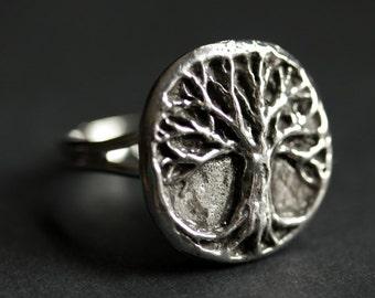 Tree of Life Ring. Tree Ring. Pewter Ring. Adjustable Ring. Silver RIng. Handmade Ring. Pewter Button Ring. Handmade Jewelry.