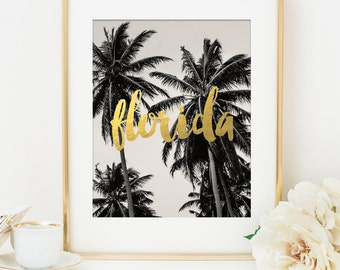 Florida Art Print, Gold Art Print, Faux Gold Foil, Florida Print, Travel Poster, Bridesmaid Gift, Destination Wedding Gift, Palm Tree Art