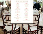 Elegant Calligraphy Wedding Seating Chart -- Printable Please Find Your Seat, Red, Gold, Choose Your Color