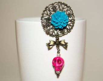 Pink Skull Pin, Skull Flower Brooch, Day of the Dead Flower Jewelry, Turquoise and Pink, Pink Skull, Ornate Brooch, Skull Pin, Skull Jewelry
