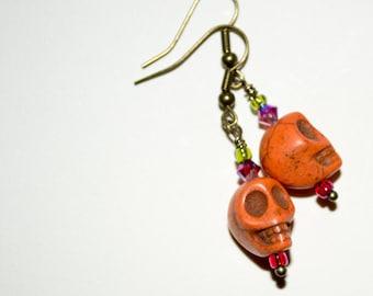 Orange Skull Drop Earrings, Skull Earrings, Day Of The Dead Jewelry, Dia De Los Muertos, Skull Jewelry, Bright Skulls, Orange Drop Earrings
