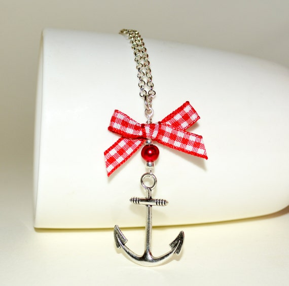 Nautical Necklace, Rockabilly Anchor Jewelry, Red Gingham Bow, Retro Anchor Necklace, Rockabilly Necklace, Nautical Jewelry, Anchor with Bow