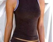 YOGA SALE Womens High Neck Tank 19.95 FREE usa Ship 1-3 days  in Cocoa Charcoal Great  for Yoga or Casual layered under a suit