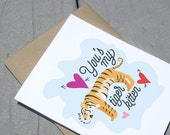 Funny Love Card, Tiger Kitten
