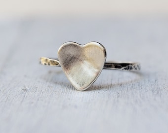 Sterling Silver Heart Ring - Stacking Ring - Rustic Jewelry - Hammered Ring - Modern Ring - Promise Ring  - Custom Size