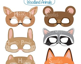 Woodland Forest Animals Printable Masks, woodland animal mask, bear mask, fox mask, raccoon mask, bunny mask, deer mask, chipmunk, kids mask