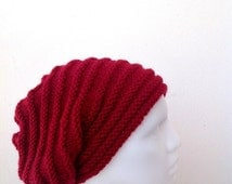 Deep Red Slouchy Knit Hat  - Unisex  Chunky Beanie - Oversize Beret - Fall Winter Fashion