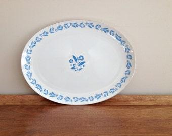 Symphony in Blue Oval Serving Platter Cornflower Corning Ware Pattern