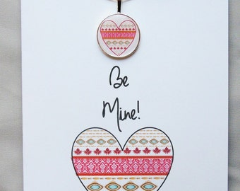 Unique Valentine Heart Greeting Card & Necklace