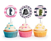 INSTANT DOWNLOAD Modern Girls Star Wars Cupcake Toppers (Star Wars party, Princess Leia, Girls Party, Star Wars, Printable Cupcake Toppers)