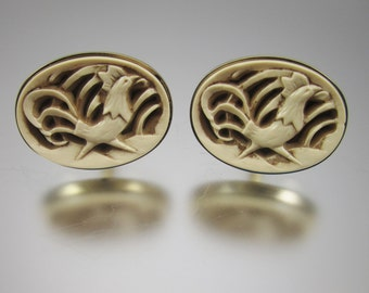 Carved Bone Rooster Cufflinks Vintage Cuff Links Hand Carved Men's Jewelry Cock a Doodle Doo
