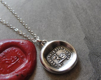 Wax Seal Necklace Love Hearts - antique wax seal charm jewelry Cupid French motto I Seek The Most Faithful by RQP Studio