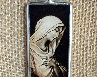 Virgin Mary Spanish Holy Cards Vintage Art Silver Soldered Glass Pendant Charm Necklace