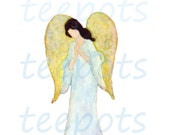 Angel clipart--Guardian Angel-- Digital downloads religious--watercolor angel art-- png 300 dpi image