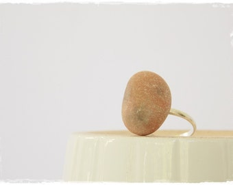 Terracotta Stone Ring, Statement Stone Ring, Beach Pebble Jewelry, Bohemian Nautical Ring, Boho Ring, Eco-Friendly Pebble Ring ~ Greece