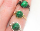 Malachite Wire Wrapped Ring - Heart Chakra - Made to Order - Silver - Gold - Black and Green Earth Gemstone Ring