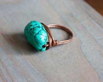 Turquoise Ring Wire Wrapped Ring Size 7 Oxidized Copper Ring Turquoise Chunk Boho Jewelry Bohemian Ring Wire Wrapped Turquoise