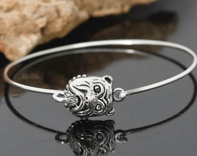 Pug Dog Bangle, Sterling Silver Bangle, Pug Dog Bracelet, Stackable Bangle, Charm , Bridesmaid Bangle, Bridesmaid jewelry, Bridal Bracelet