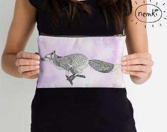 Fox Illustrated Zip Pouch, Make Up Bag, Pencil Case