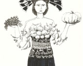 Drawing GODDESS OF FERTILITY with capercaillie bird // original ink sketches by Elisaveta Sivas // 5,5 x 7,5'