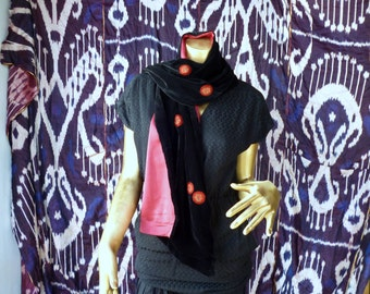 30% OFF Black silk velvet shawl with silk satin lining and red and gold embroidery
