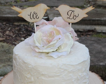 Wedding Cake Topper Love Birds Personalized Rustic Shabby Chic