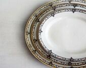 "Antique Limoges Platters, Set of 3 Oval Platters, Theodore Haviland Schleiger 170-2, 11"" 13"" 15"" Oval Platter, Blue Scroll Pink Roses"