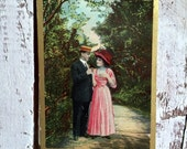antique post card couple walking, lovers walking antique