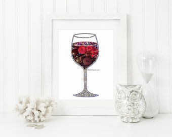 Red Wine Glass Button Art Red Wine Glass Wine Decoration Swarovski Wine Painting Wine Bottle Art Personalized Wine Wall Hanging Button Wine