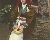 Vintage Print of Japanese Girl, color photogravure photo