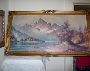 "Vintage Framed Lithograph 'Mountain Peaks' by Wilmer Winde 24"" x 48"" Only 55 USD"