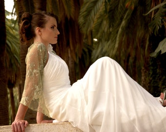 Wedding lace shrug in moss green with 4 wearing ways- shawl , crisscross , shrug and scarf (DL124)