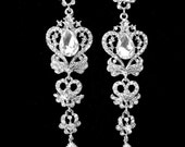 "Long rhinestone earrings ~ 4"" long ~ Statement earrings ~ Crystal chandelier earrings ~ Treadrop ~ Vintage style ~ Brides earrings"