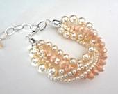 Chunky pearl bracelet - Twisted - Swarovski pearls - Glittering crystals ~ Brides bracelet - 5 strand - Pearl statement bracelet ~ Wedding