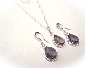 Amethyst Necklace and earring set ~ Sterling silver ~ Purple ~ Bridal Jewelry ~ Bridesmaids ~ February birthstone ~ Birthday Gift ~
