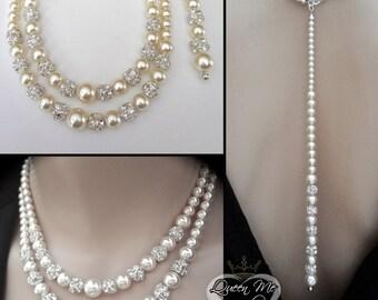 Pearl necklace ~ Brides necklace ~ 2 strand ~ Swarovski pearls, crystal rhinestones ~ Pearl necklace with backdrop ~ Wedding jewelry~DESTINY