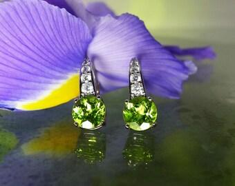 Peridot Earrings, Peridot Dangle Earrings, Silver Peridot Earrings, August Birthstone, Lever Back Earrings, Peridot Jewelry, Lime Green Gems