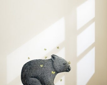Wombat With Mariposa Removable Wall Sticker | LSB0057CLR-RTL