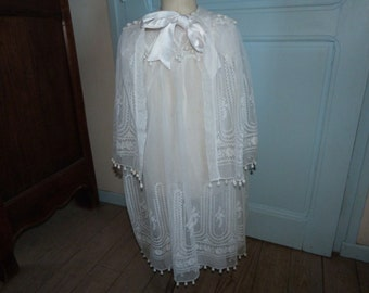 Antique French white hand embroidered lace christening gown dress w cope cape w broderie baptism dress w hand embroidery 1800s clothing