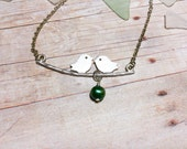 Bird Necklace Gift For Her Emerald Pearl Anniversary Gift Bridesmaid Necklace Love Bird Necklace