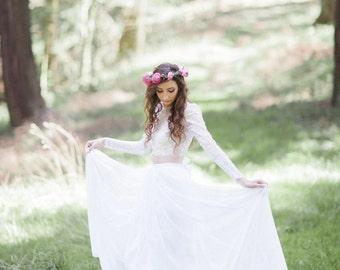 Chiffon Bridal Skirt with Train.Dancing Days Skirt. Silk Satin and Silk Chiffon Skirt with Optional Train. Custom Made to Order.