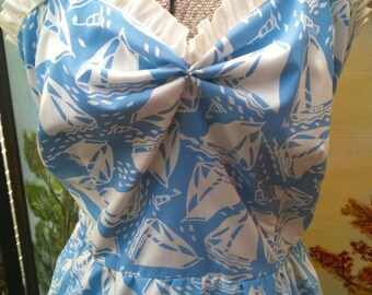 SALE Vintage 1970's does 1950's Novelty Dress SAIL BOATS Baby blue cute