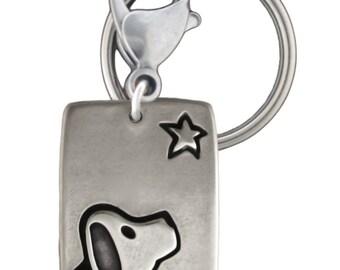 Dog Keychain - White Bronze Dogstar Key Ring - Dog with Star