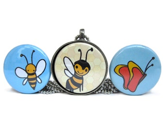 Bee Necklace Set - Butterfly Pendant - Set of 3 Interchangeable Magnets with Pewter Pendant