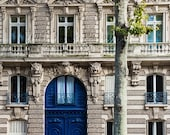 Paris Door Photo, French Architecture, Blue Door, City Photograph, Cobalt Blue Art, Stone Building Photo, Paris Home Decor, Fine Art Print