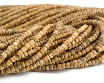 Coco Wood Large Seed Beads - 2mm x 3mm - Natural Color - 300 Beads