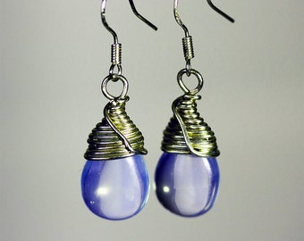 Earrings, Sterling Silver Wire Wrapped Opalite Moonstones and Sterling Silver French Ear Wires