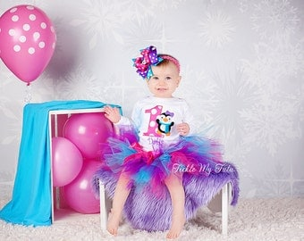Penguin Themed Winter ONEderland Winter Themed Birthday Tutu Outfit-Dark Pink, Purple, Turquoise Penguin Birthday Outfit *Bow NOT Included*