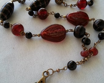 """ID Lanyard, Name Tag Holder,  33"""". Red & Black Glass Beads"""